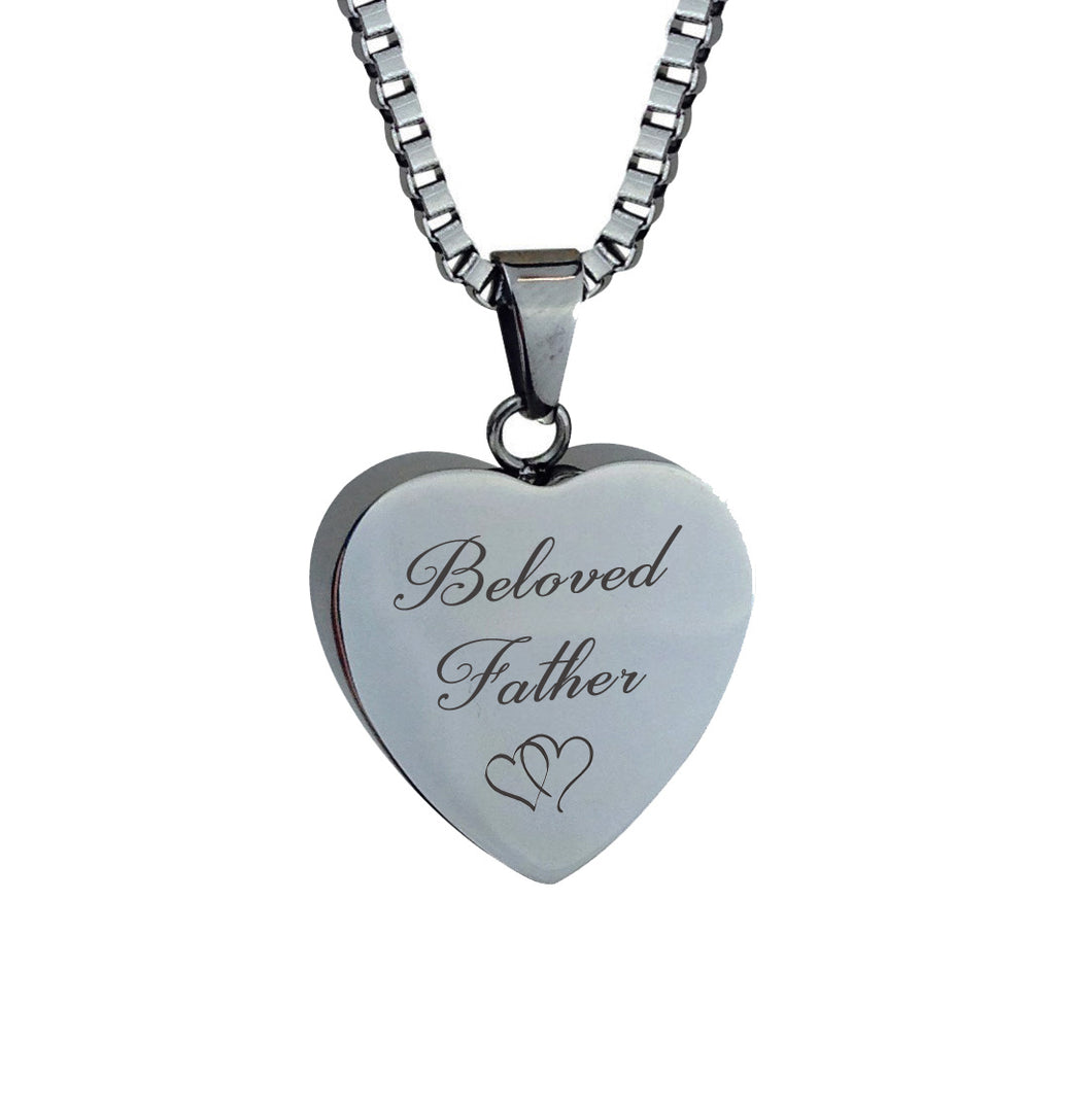 Beloved Father Hearts Cremation Urn Pendant