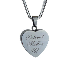 Beloved Mother Hearts Cremation Urn Pendant