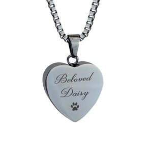 Beloved Personalised Paw Hearts Cremation Urn Pendant