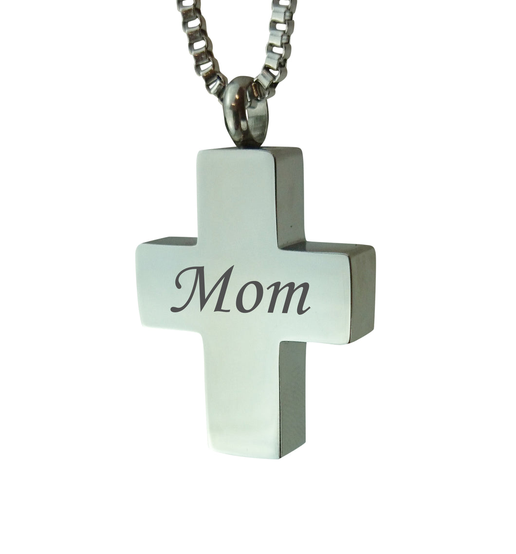 Mom Cross Cremation Urn Pendant