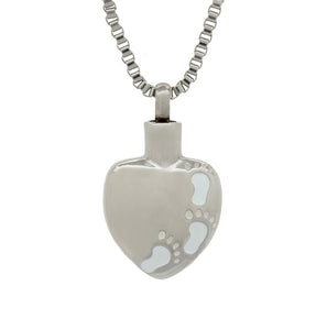Personalised Footprints on Heart Cremation Urn Pendant