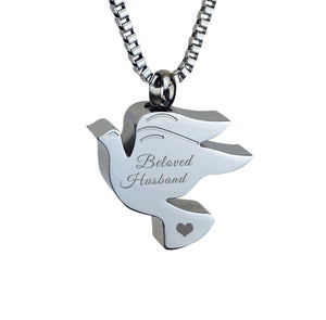 Beloved Husband Dove Cremation Urn Pendant