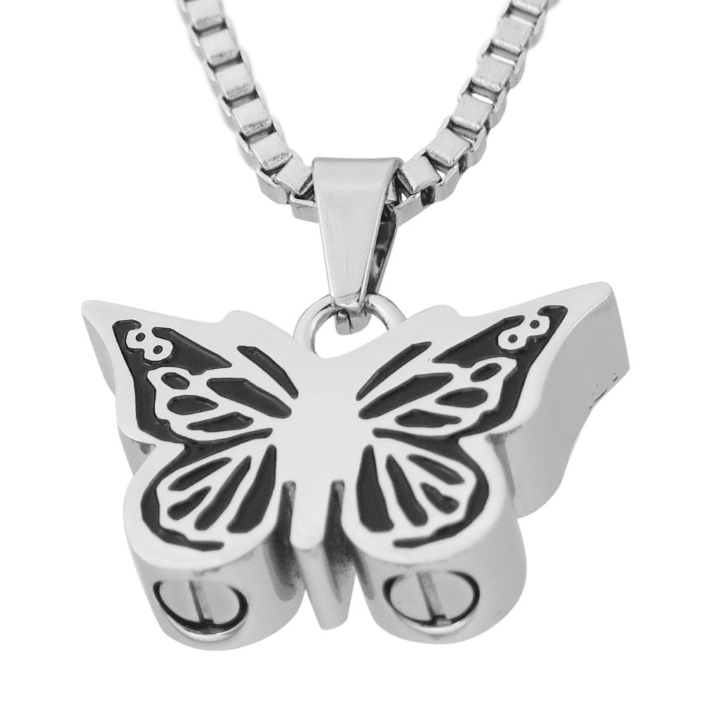 Dual Ashes Butterfly Cremation Urn Pendant