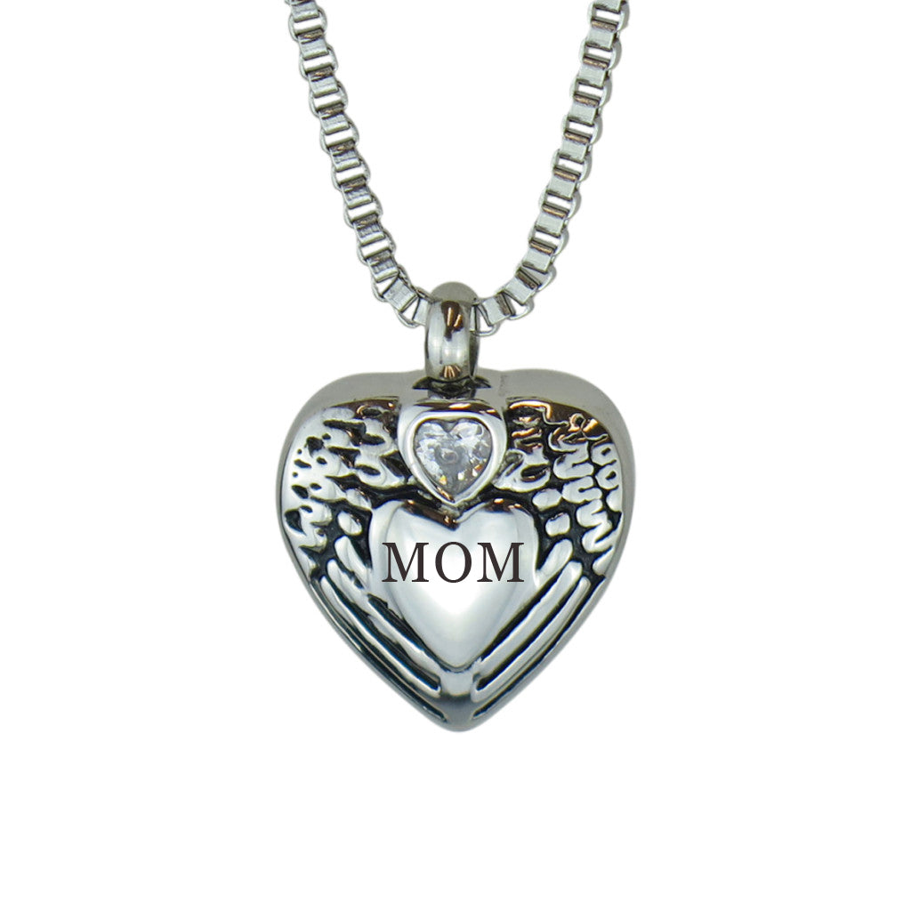 Mom Angel Wings Crystal Heart Cremation Urn Pendant