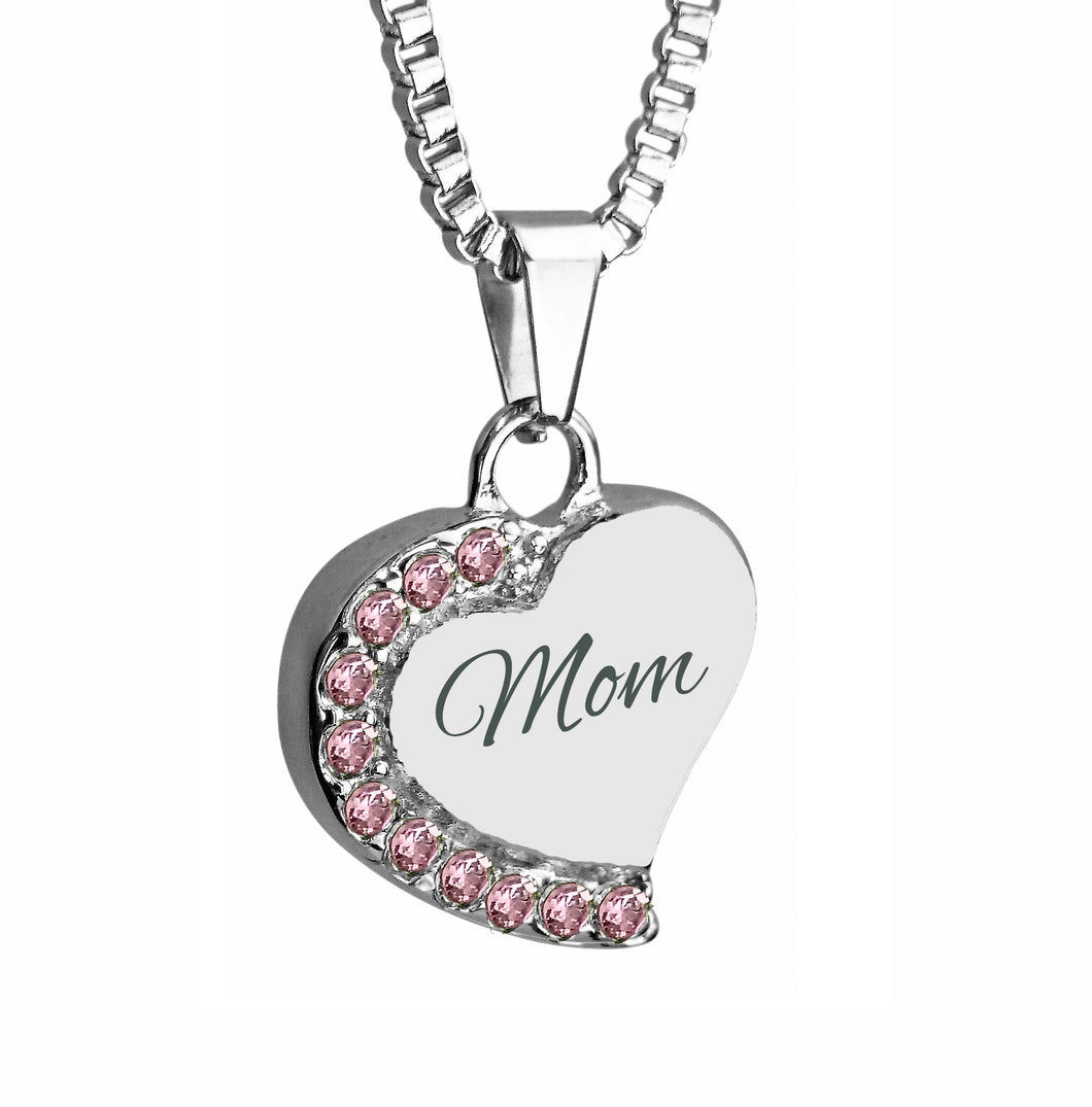 Mom Heart with Pink Crystals Cremation Urn Pendant