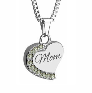 Mom Heart with Crystals Cremation Urn Pendant