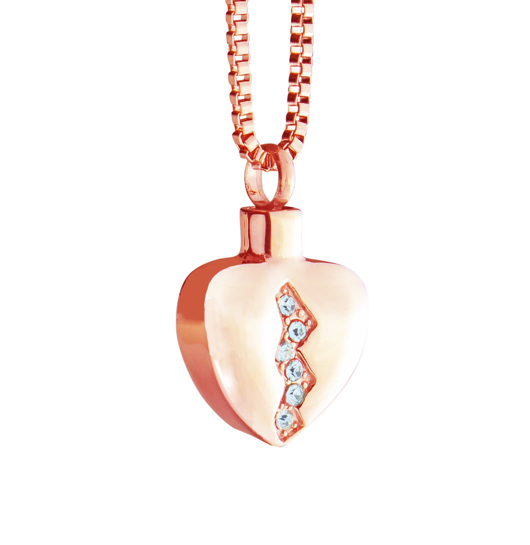 Rose Gold Crystal Heart Cremation Urn Pendant