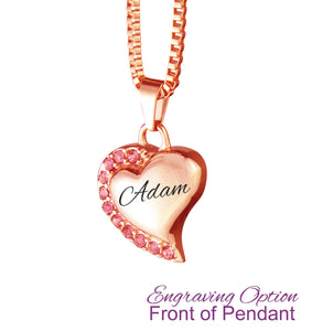 Rose Gold Heart with Pink Crystals Cremation Urn Pendant - Optional Personalisation