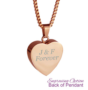 Dad Dove Rose Gold Heart Cremation Urn Pendant
