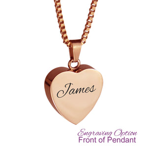 Rose Gold Heart Cremation Urn Pendant - Optional Personalisation