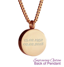 Rose Gold Classic Round Cremation Urn Pendant - Optional Personalisation