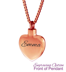 Rose Gold Smooth Heart Cremation Urn Pendant - Optional Personalisation