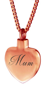 Rose Gold Mum Heart Cremation Urn Pendant