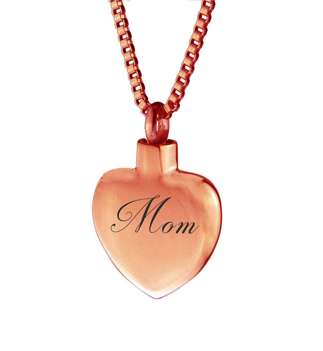Rose Gold Mom Heart Cremation Urn Pendant