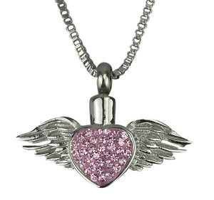 Winged Heart Cremation Urn Pendant