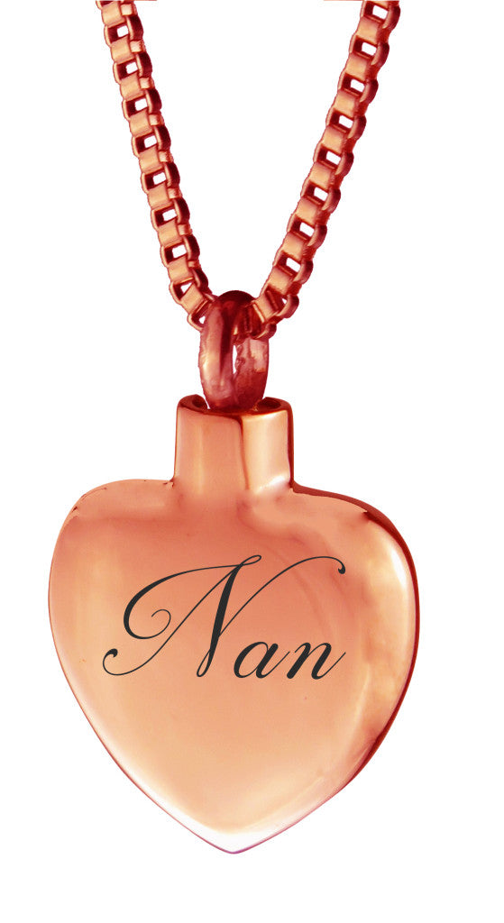 Rose Gold Nan Heart Cremation Urn Pendant