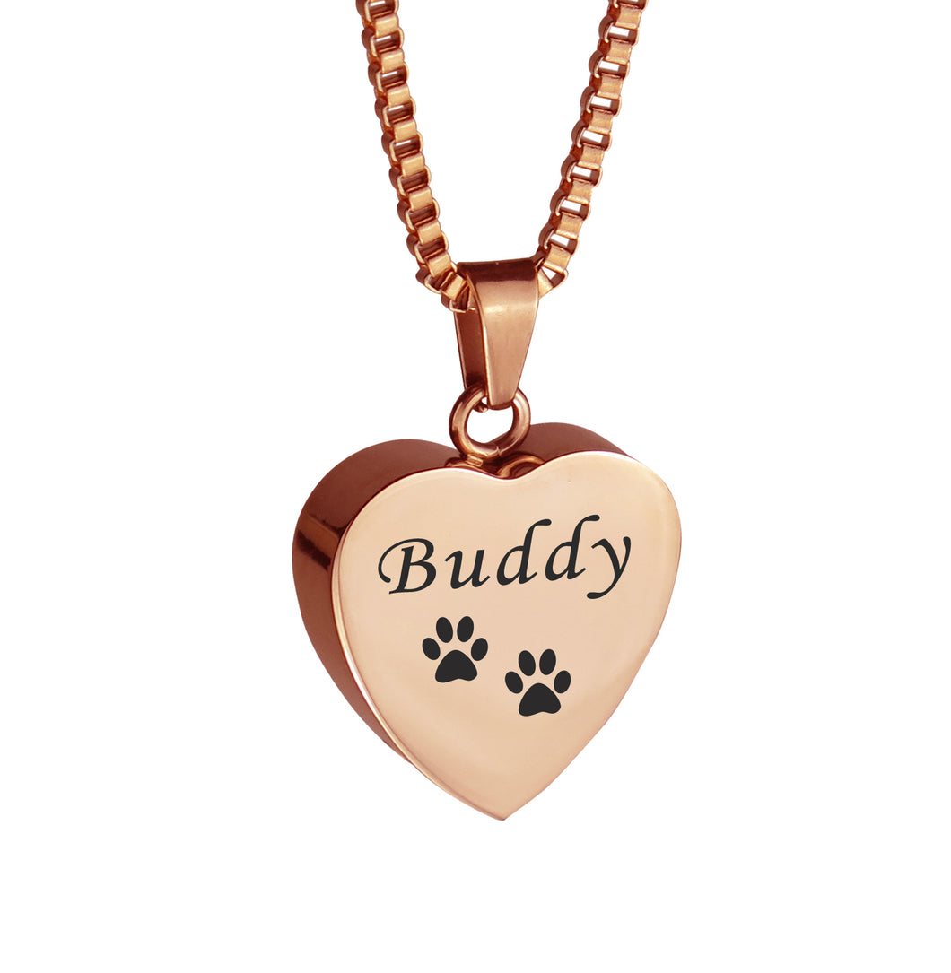 Personalised Pet Cat Dog Paw Print Rose Gold Heart Cremation Urn Pendant