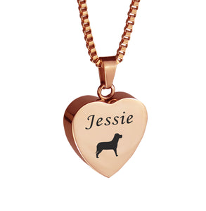 Personalised Dog Rose Gold Heart Pet Cremation Urn Pendant