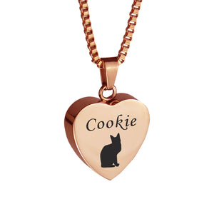 Personalised Cat Rose Gold Heart Pet Cremation Urn Pendant