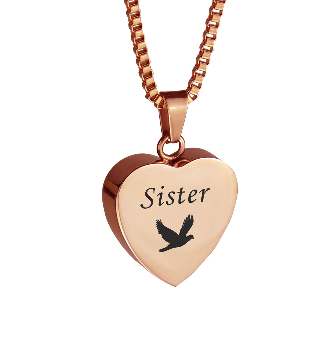 Sister Dove Rose Gold Heart Cremation Urn Pendant