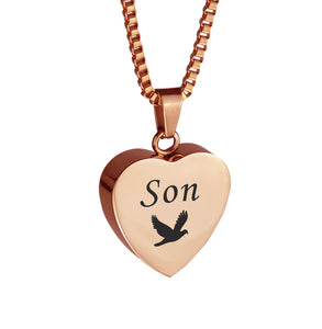 Son Dove Rose Gold Heart Cremation Urn Pendant