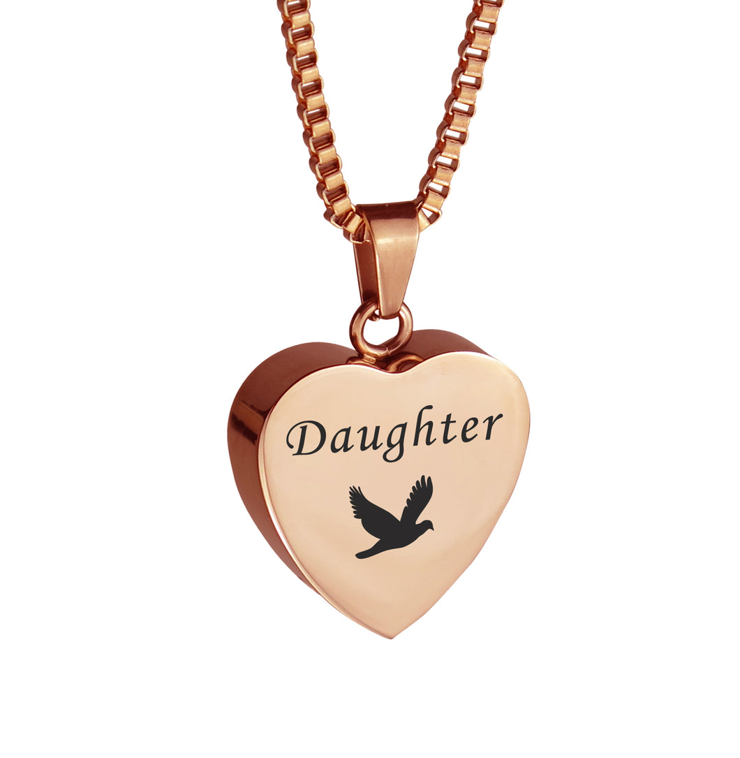 Daughter Dove Rose Gold Heart Cremation Urn Pendant