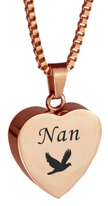 Nan Dove Rose Gold Heart Cremation Urn Pendant