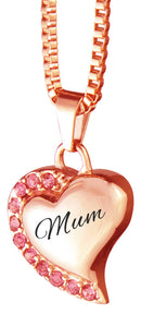 Mum Heart with Pink Crystals Rose Gold Cremation Urn Pendant
