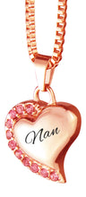 Nan Heart with Pink Crystals Rose Gold Cremation Urn Pendant