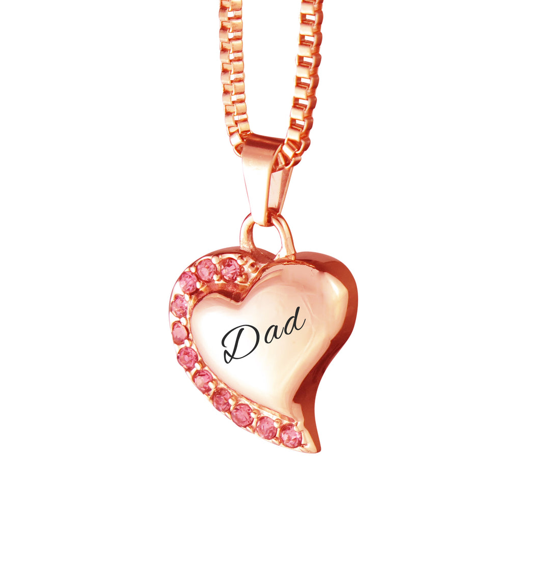 Dad Heart with Pink Crystals Rose Gold Cremation Urn Pendant