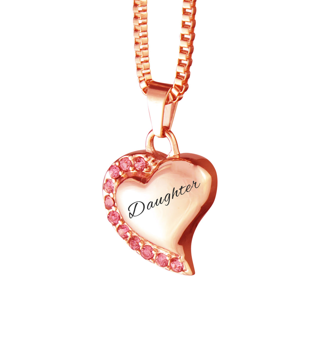 Daughter Heart with Pink Crystals Rose Gold Cremation Urn Pendant