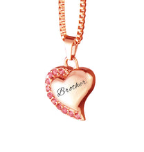 Brother Heart with Pink Crystals Rose Gold Cremation Urn Pendant