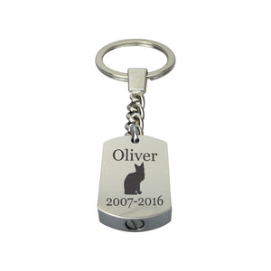 Personalised Cat Cremation Urn Keychain Keyring