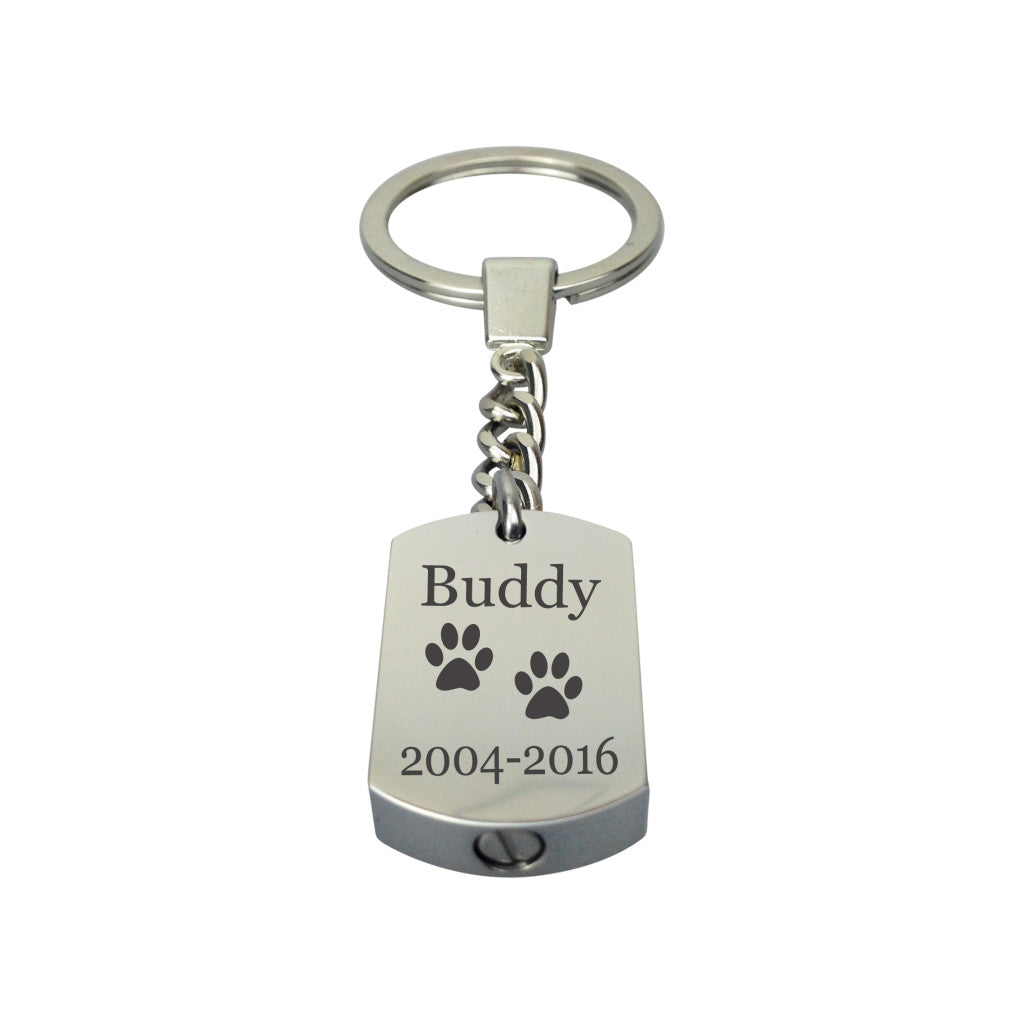 Personalised Paws Cremation Urn Keychain Keyring