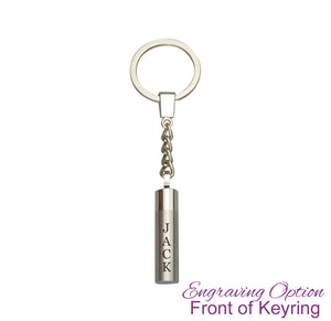 Cylinder Cremation Urn Keychain Keyring - Optional Personalisation