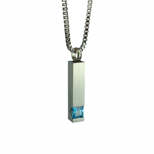 Quantum Blue Crystal Cremation Urn Pendant - Optional Personalisation