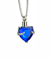 Royal Blue Heart Cremation Urn Pendant