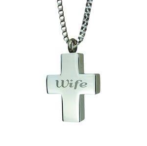 Wife Cross Cremation Urn Pendant
