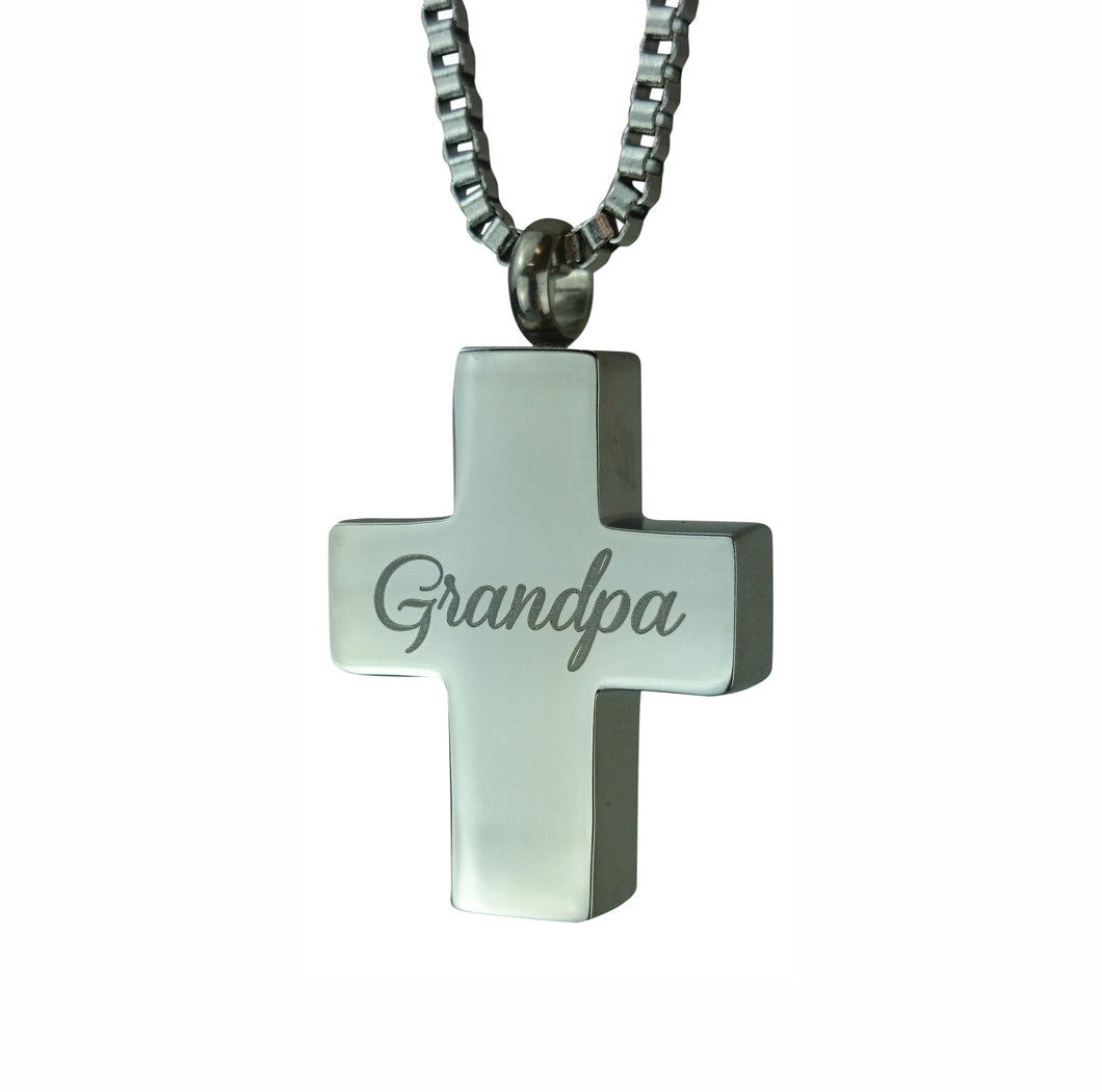 Grandpa Cross Cremation Urn Pendant