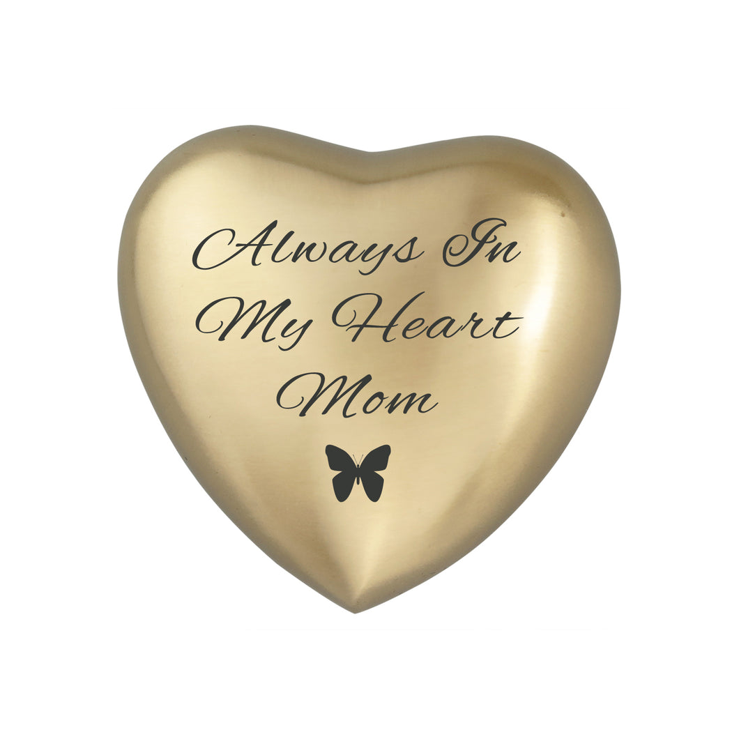 Always in my Heart Mom Golden Butterfly Heart Brass Keepsake Urn