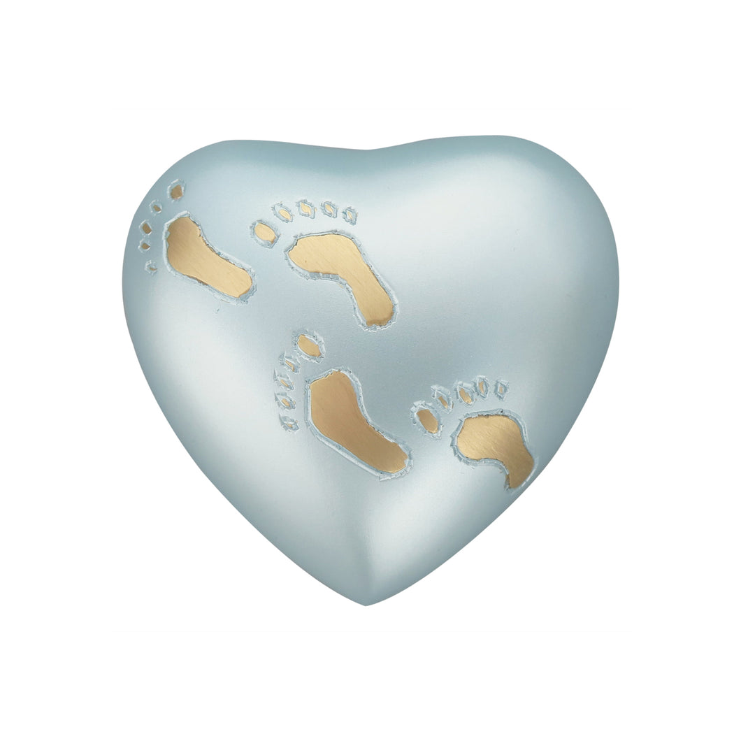 Baby Blue Footprints Heart Brass Keepsake Urn