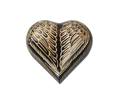 Angel Wings Black and Gold Heart Brass Keepsake Urn