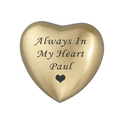 Always in my Heart Personalised Golden Heart Brass Keepsake Urn