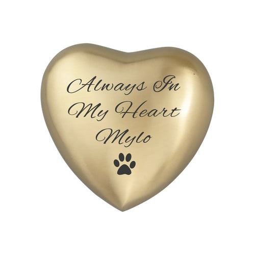 Always in my Heart Personalised Paw Golden Heart Brass Keepsake Urn