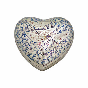 Flying Birds Blue and White Heart Brass Keepsake Urn