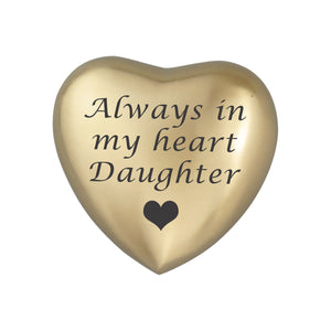 Always in my Heart Daughter Golden Heart Brass Keepsake Urn