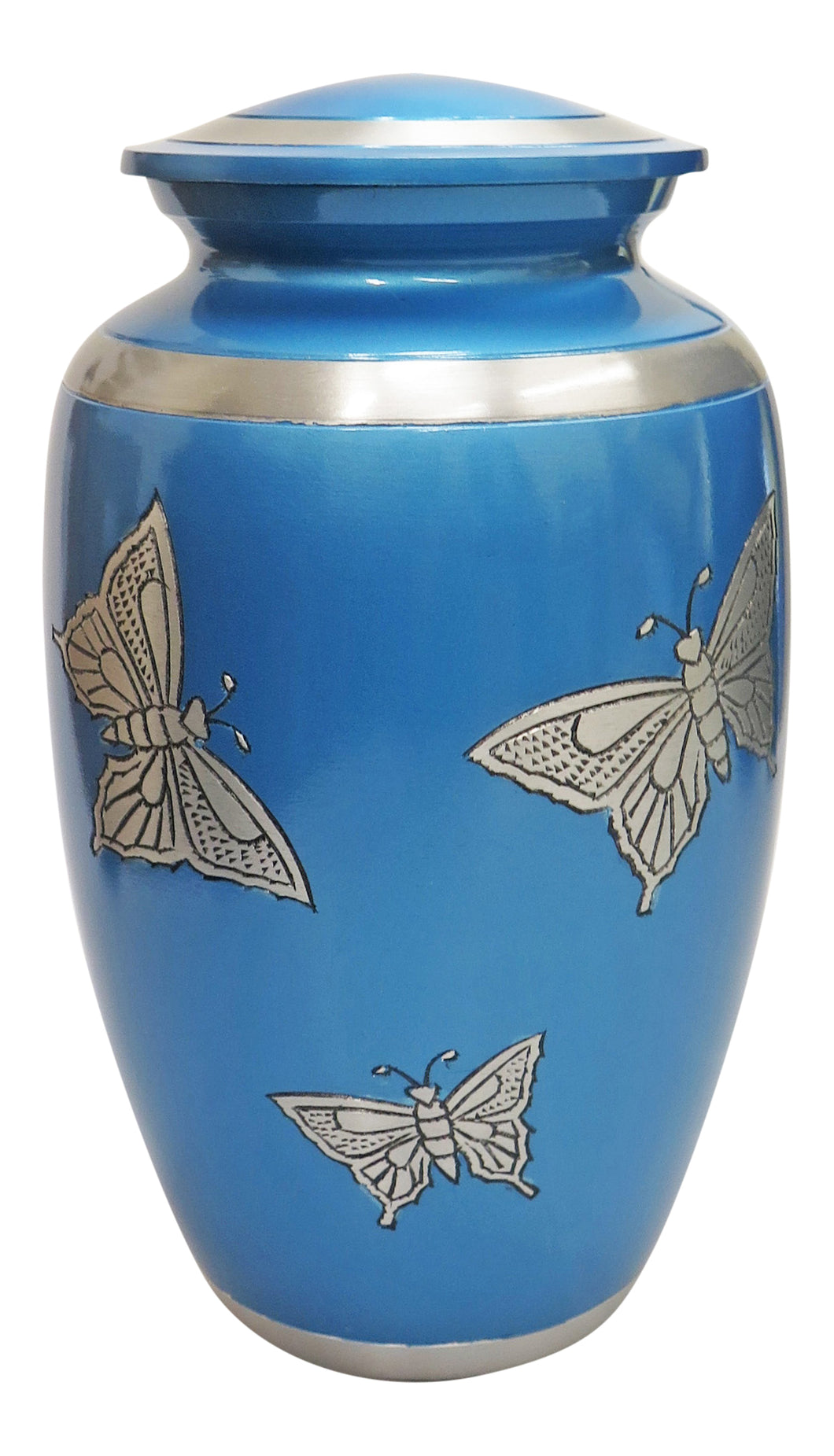 Large Aluminium Blue & Silver Butterfly Adult Urn with Optional Personalised Engraving