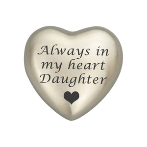 Always in my Heart Daughter Silver Heart Brass Keepsake Urn