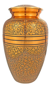 Large Copper Rose Gold & Black Adult Brass Urn
