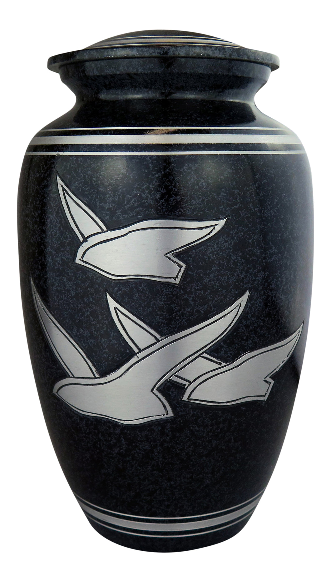 Large Aluminium Black Flying Birds Adult Brass Urn with Optional Personalised Engraving